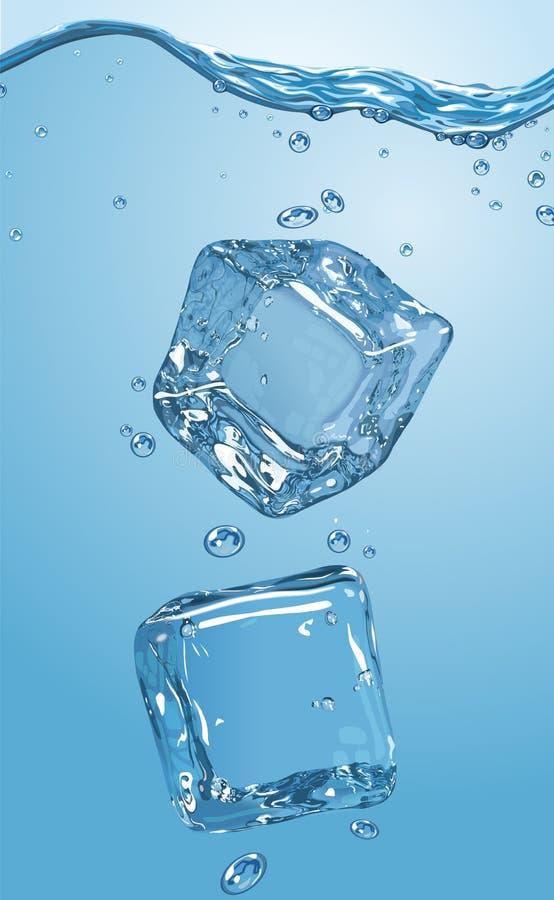 Download Dwa Kostki Lodu Opuszczali W Wodę EPS10 Ilustracja Wektor - Ilustracja złożonej z cooler, chłodnia: 57669798