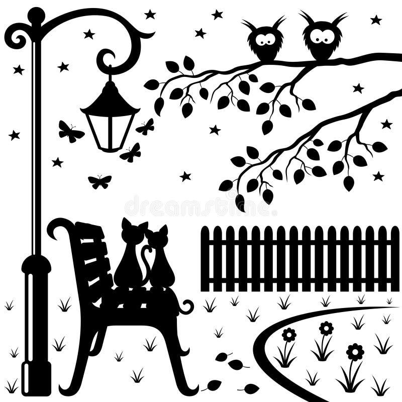 Dwa kota siedzi na parkowej ławce ilustracji