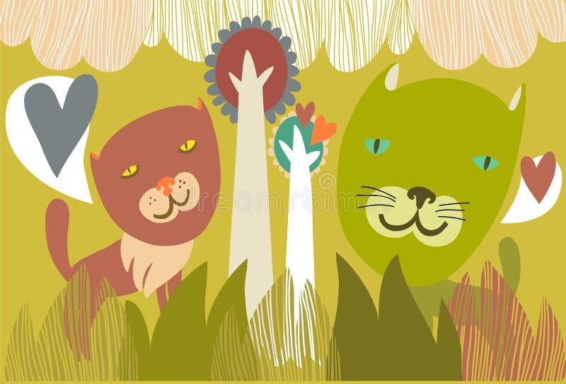 Download Dwa kota w miłości ilustracja wektor. Ilustracja złożonej z dekoracyjny - 28956326