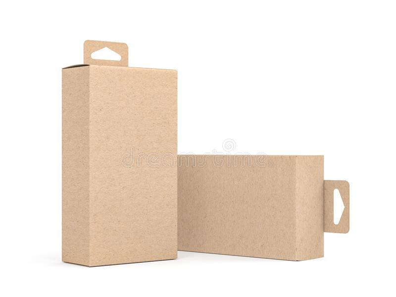 Dwa Kraft kartonu z zrozumienie zakładką pakuje Mockup obrazy royalty free