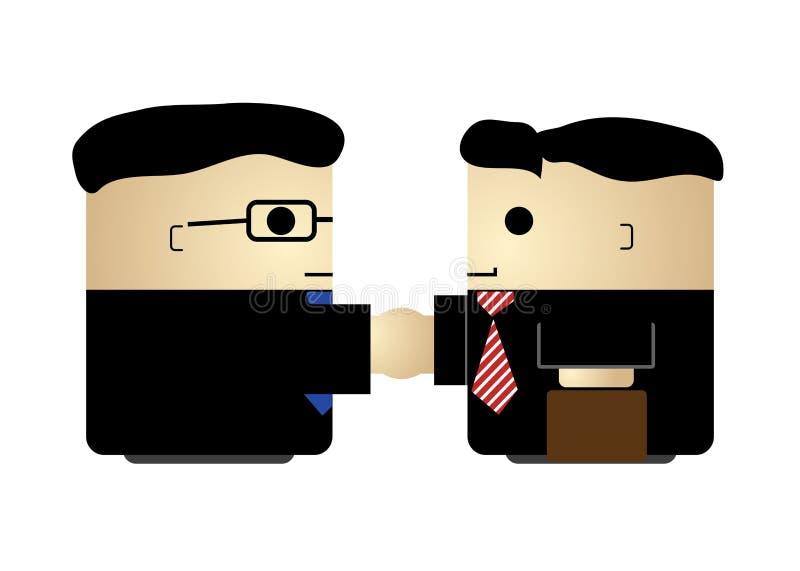 Dwa kreskówka biznesmenów ślicznego handshaking prosty odosobniony wektor ilustracji