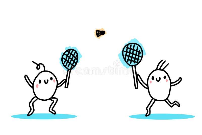 Dwa kreskówka dzieciaka bawić się badminton wręczają patroszoną wektorową ilustrację royalty ilustracja