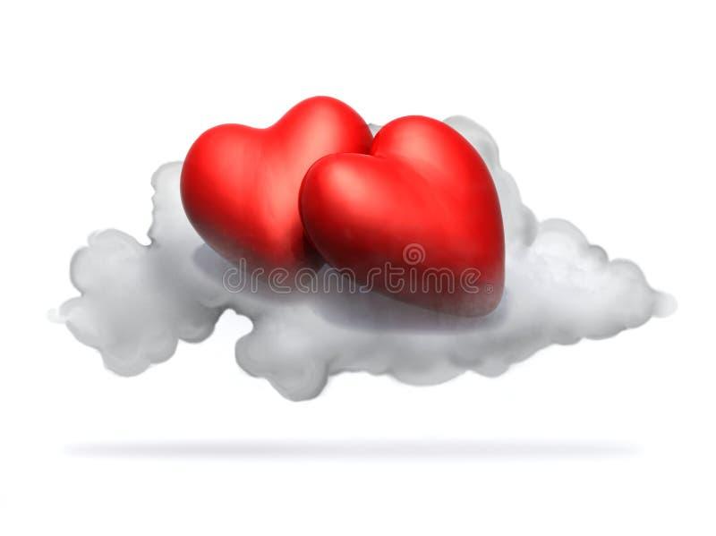 Dwa kreskówki czerwonego serca odpoczywa nad chmura ilustracji
