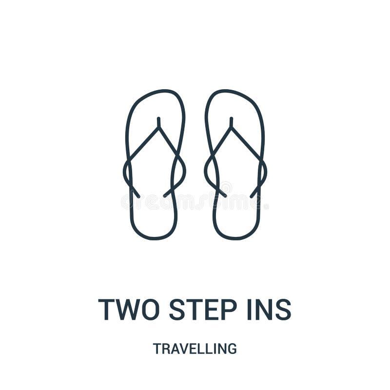 dwa - kroczy ins ikony wektor od podróżnej kolekcji Cienka linia dwa - kroka ins konturu ikony wektoru ilustracja Liniowy symbol ilustracji