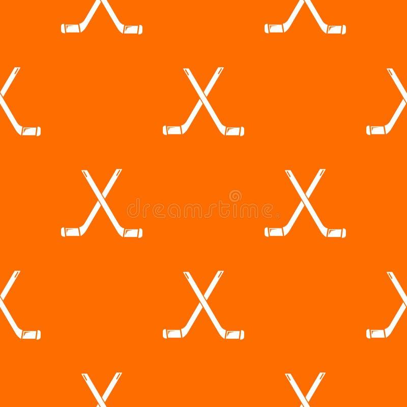 Dwa krzyżowali hokejowych kijów deseniowej wektorowej pomarańcze ilustracji