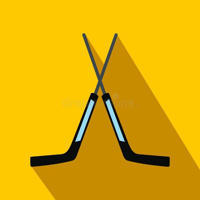 Dwa krzyżowali hokejowych kijów ikonę royalty ilustracja