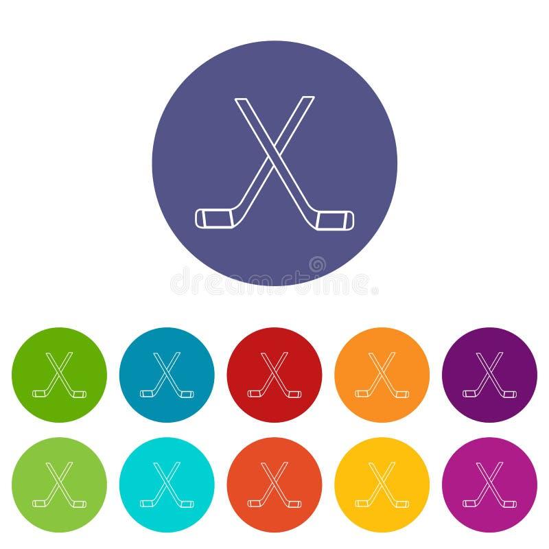 Dwa krzyżowali hokejowych kijów ikona ustawiającego wektorowego kolor ilustracja wektor