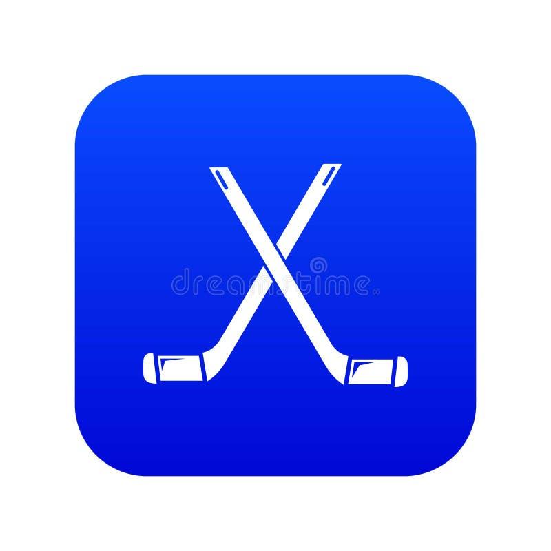 Dwa krzyżowali hokejowych kijów ikony błękita wektor ilustracji