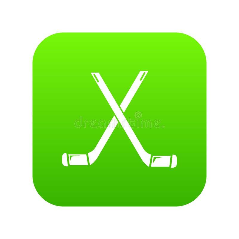 Dwa krzyżowali hokejowych kijów ikony zieleni wektor ilustracji