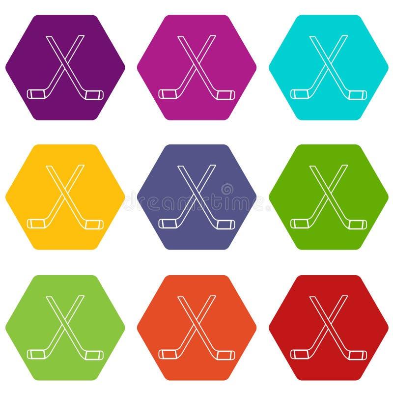 Dwa krzyżowali hokejowych kije ikony ustawiają 9 wektor ilustracji