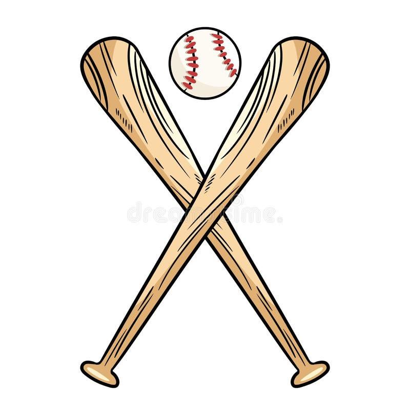 Dwa krzyżowali kije bejsbolowych i piłka, ikona bawi się logo Wektor odosobniona ilustracja, Prosty kształt dla projekta logo, em royalty ilustracja