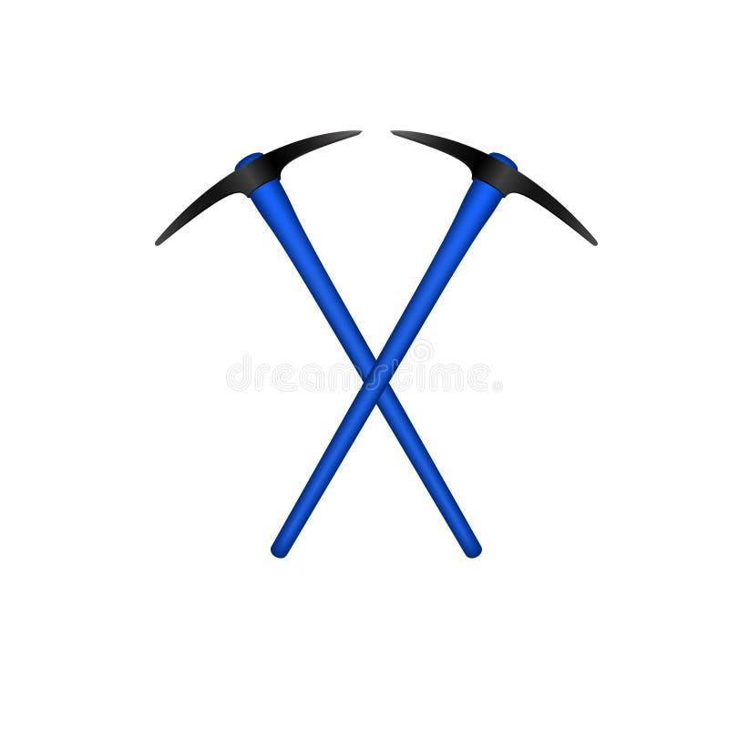 Dwa krzyżowali mattocks w czarnym projekcie z błękitną rękojeścią ilustracji