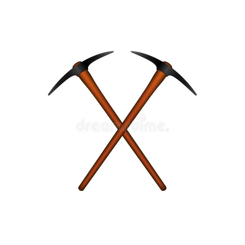Dwa krzyżowali mattocks w czarnym projekcie z drewnianą rękojeścią ilustracja wektor