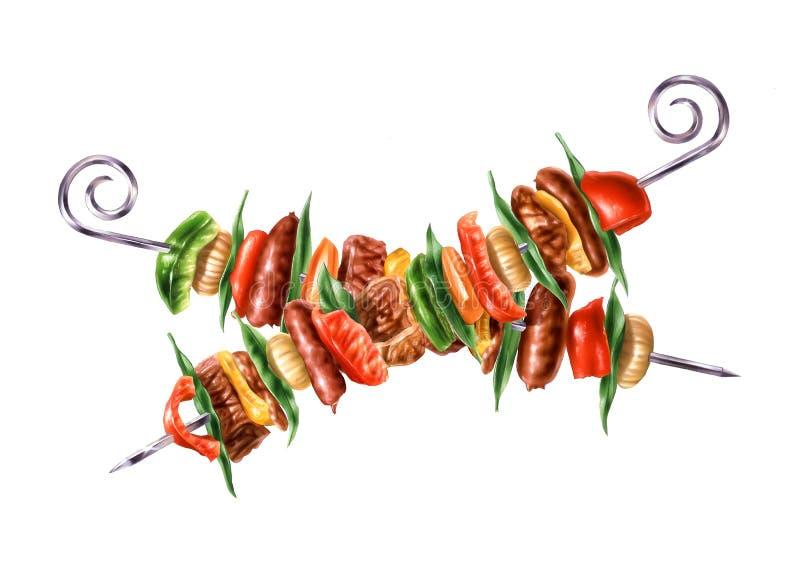 Dwa krzyżowali skewers kebab z mieszanym mięsem i warzywami. royalty ilustracja