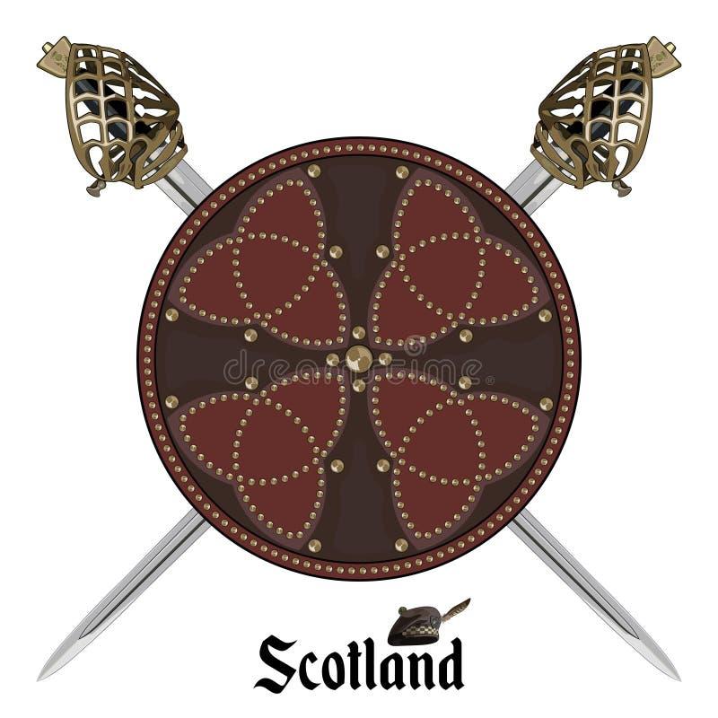 Dwa krzyżowali Szkockiego Górskiego backsword i Szkocką batalistyczną osłonę dekorujących z stadninami w celta stylu royalty ilustracja