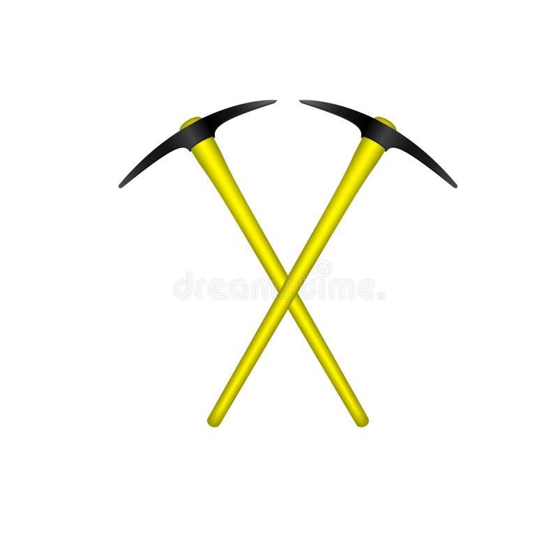 Dwa krzyżującego mattocks w czarnym projekcie z żółtą rękojeścią royalty ilustracja