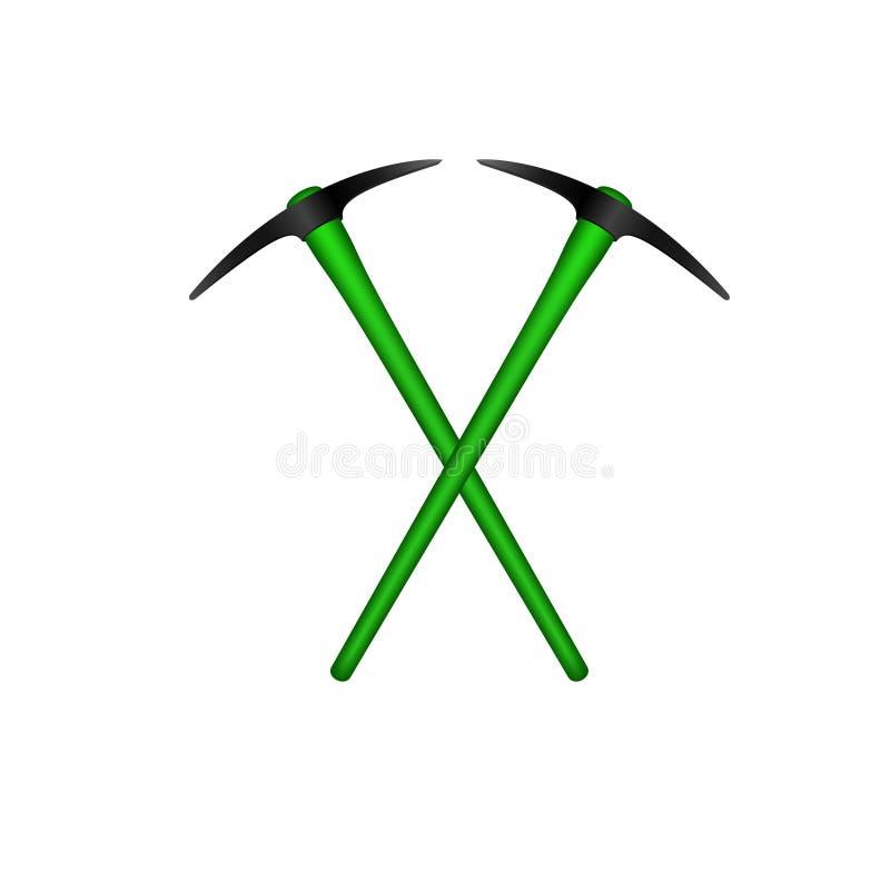 Dwa krzyżującego mattocks w czarnym projekcie z zieloną rękojeścią ilustracji