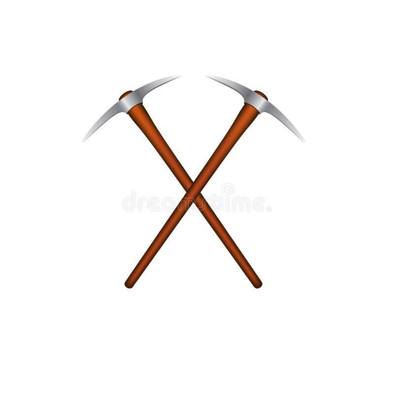 Dwa krzyżującego mattocks z drewnianą rękojeścią ilustracja wektor