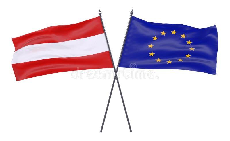 Dwa krzyżującej flaga royalty ilustracja
