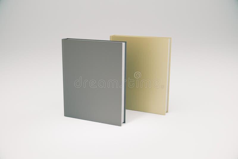 Dwa książek różny kolor z pustą pokrywą, wyśmiewa up ilustracja wektor