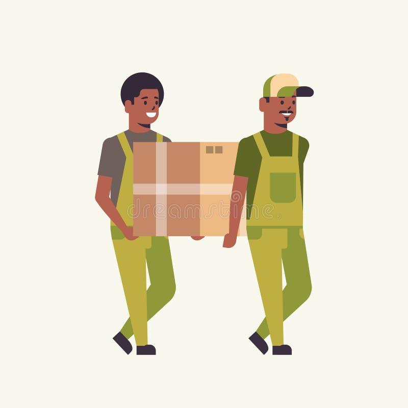 Dwa kuriera w jednolitym przewożenie kartonie pakują poczty doręczeniowej usługi pojęcia amerykanin afrykańskiego pochodzenia eks ilustracji