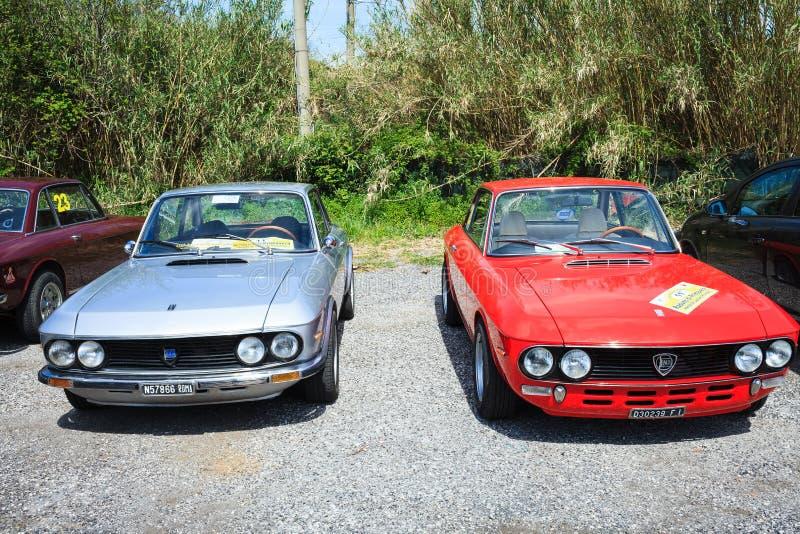 Dwa Lancia Fulvia Piękny rocznik zdjęcia stock