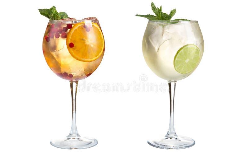 Dwa lekka alkoholiczka lub bezalkoholowi koktajle z mennicą, owoc i jagodami na białym tle, Koktajle w szklanych czara obraz royalty free
