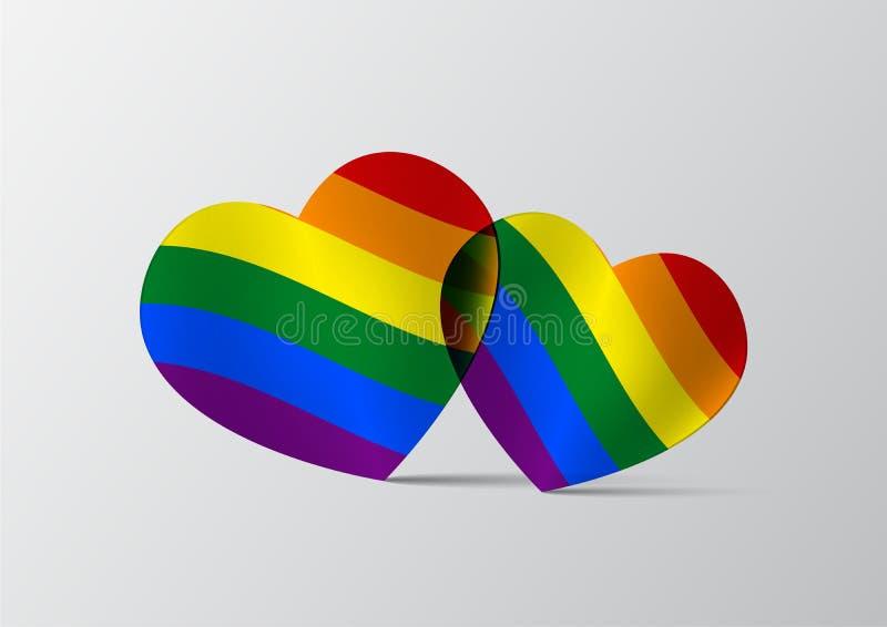 Dwa lgbt serc wektorowa ilustracja, lgbt symbolu pojęcie fotografia royalty free