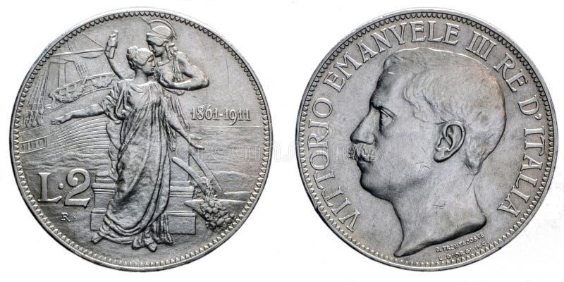 Dwa lira Srebnej monety 1911 Vittorio Emanuele III fiftieth rocznicowego królestwa Włochy fotografia stock