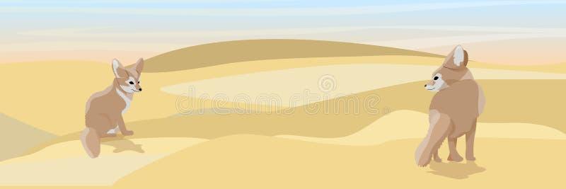 Dwa lisa opustoszały fenek na piasku ilustracji