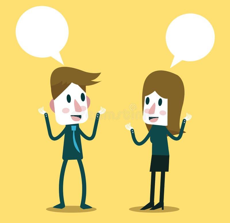Dwa ludzie biznesu opowiada i dyskutuje ilustracji