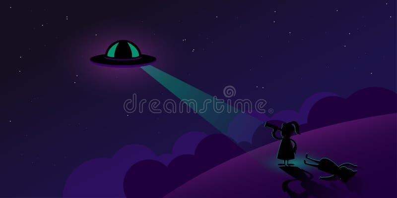 Dwa ludzie patrzeje UFO w ciemnym nocnym niebie odwaga Cartoo royalty ilustracja