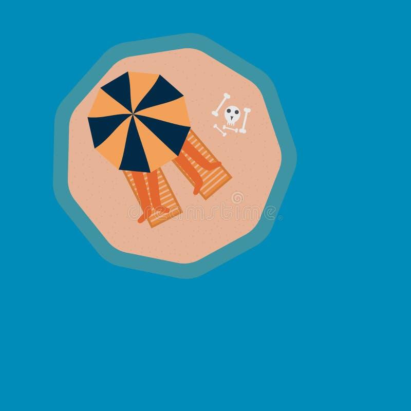 Dwa ludzie sunbathing pod plażowym parasolem na małej wyspie ilustracja wektor