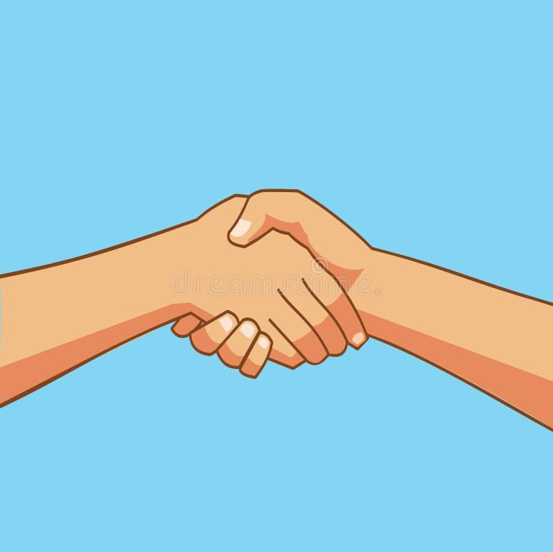 Dwa ludzie trząść ręki kreskówkę ilustracji