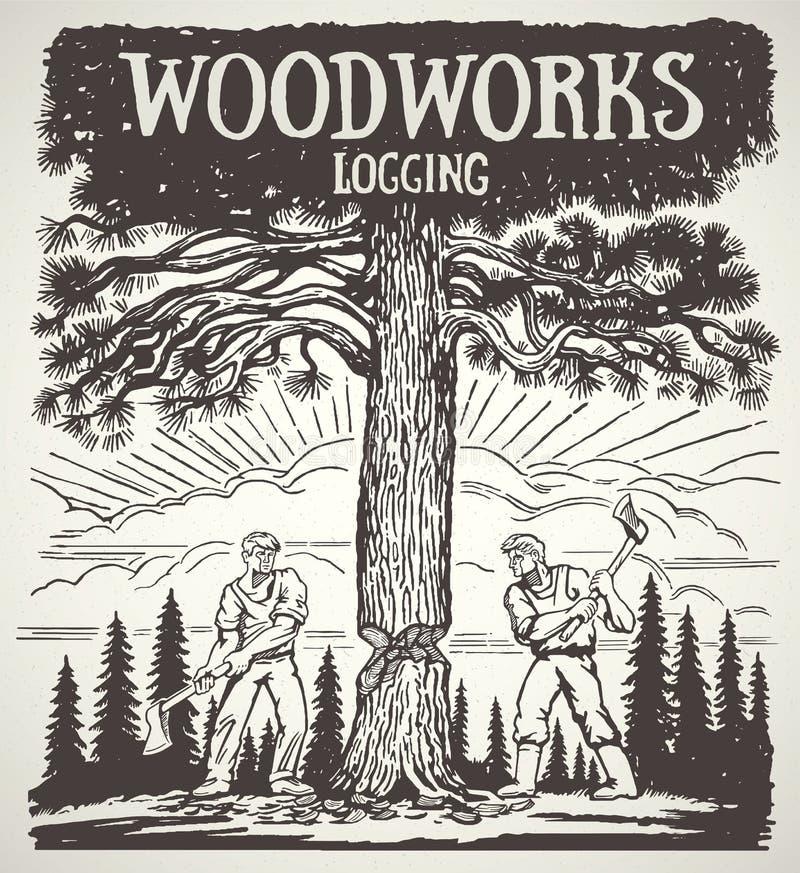Dwa lumberjack siekał drzewa z cioskami ilustracji
