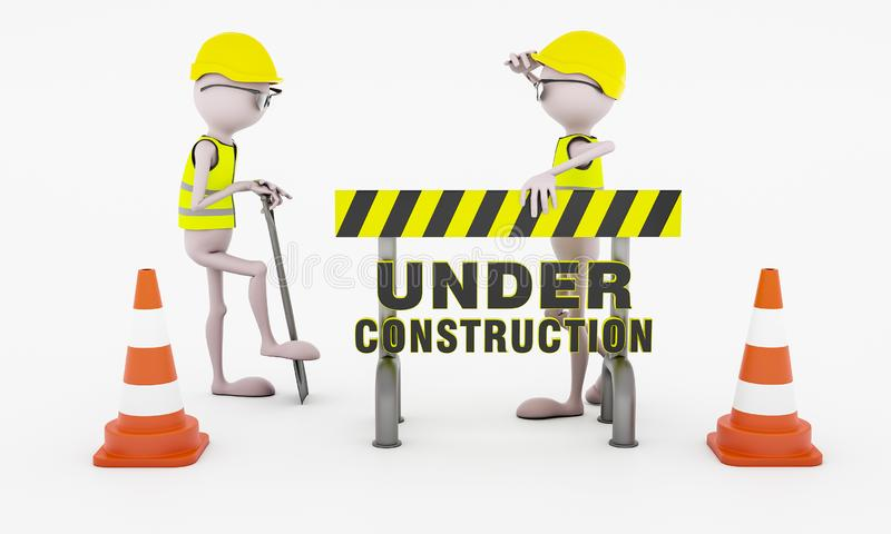 Dwa mężczyzny pracuje behinde bariery deska ilustracji