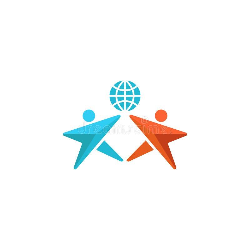 Dwa mężczyzn logo kula ziemska, ręki w górę wpólnie, ludzie przyjaźń symbolu, abstrakcjonistyczny ogólnospołeczny społeczność emb ilustracja wektor