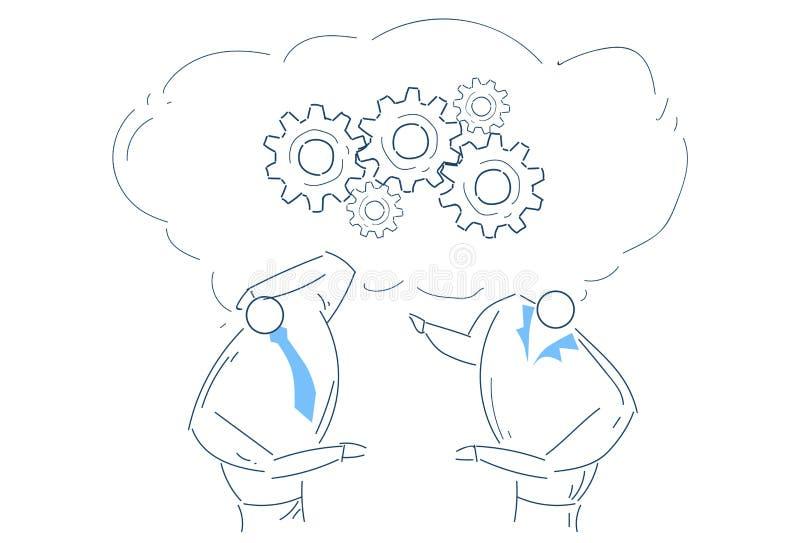Dwa mężczyzna brainstorming przekładni koło pracuje wpólnie proces strategii pojęcia nakreślenia doodle royalty ilustracja