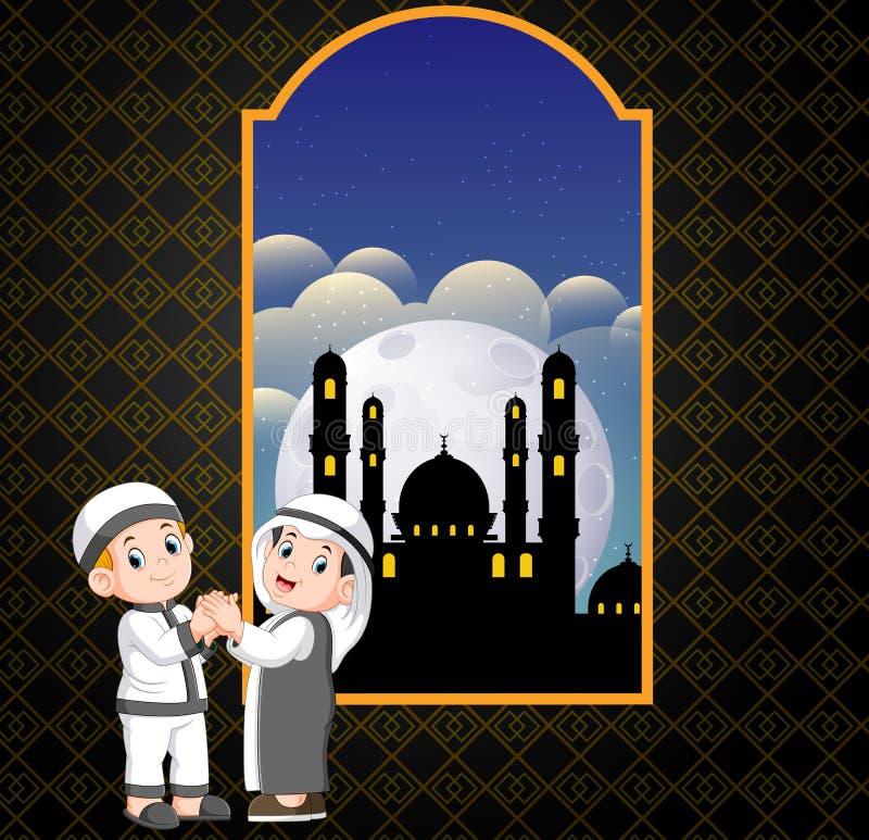 dwa mężczyzna daje przeprosiny w frontowym og do siebie meczetowi ilustracja wektor
