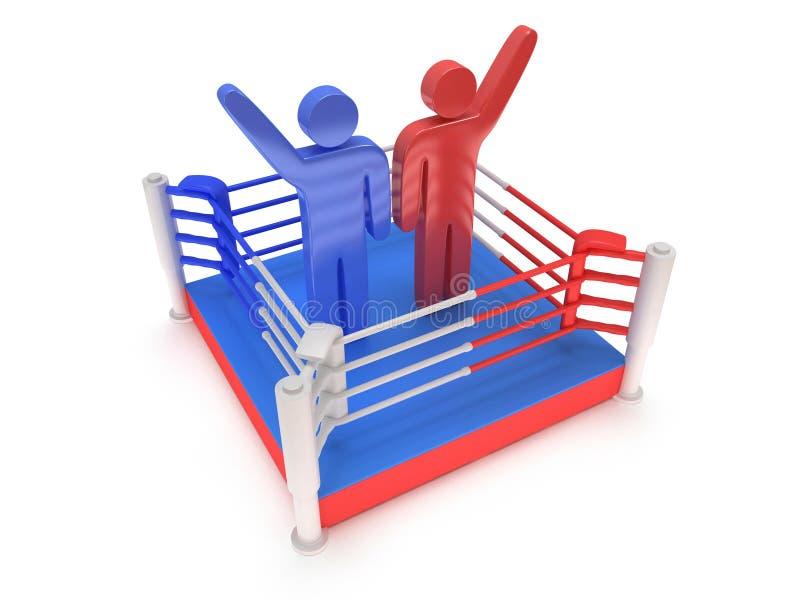 Dwa mężczyzna na bokserskim pierścionku. Wysoka rozdzielczość 3d odpłacają się. ilustracja wektor