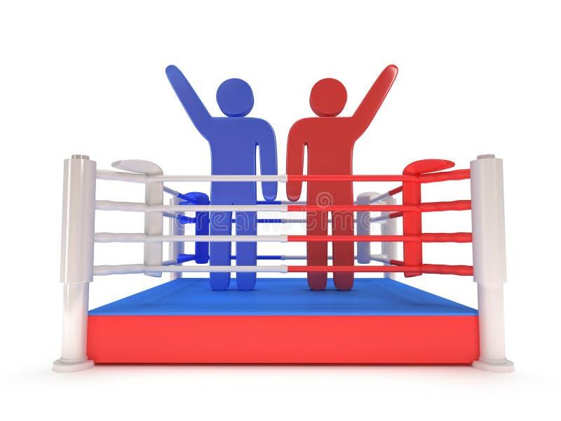 Dwa mężczyzna na bokserskim pierścionku. Wysoka rozdzielczość 3d odpłacają się. ilustracji
