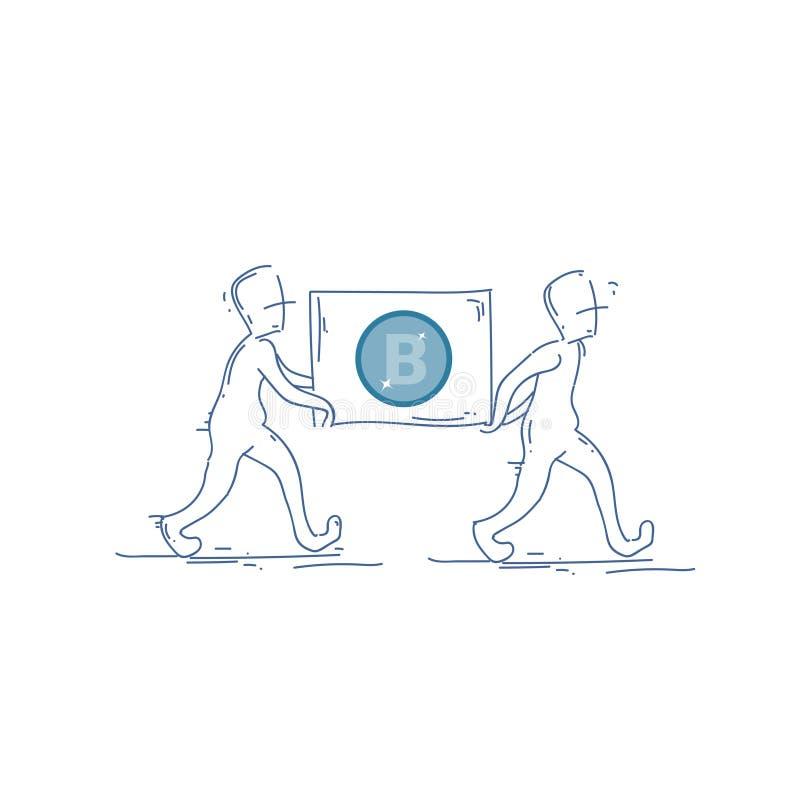 Dwa mężczyzna Niesie Bitcoin waluty sztandaru Cyfrowego sieci pieniądze Crypto pojęcie ilustracji