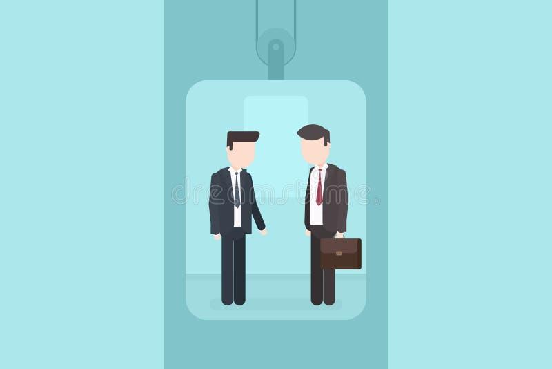Dwa mężczyzna opowiada w windzie royalty ilustracja