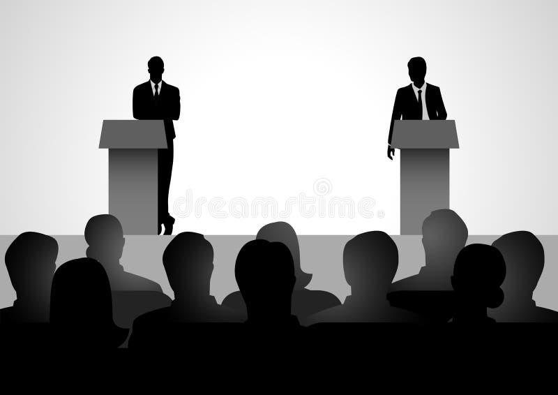 Dwa mężczyzna postaci debatowania na podium ilustracja wektor