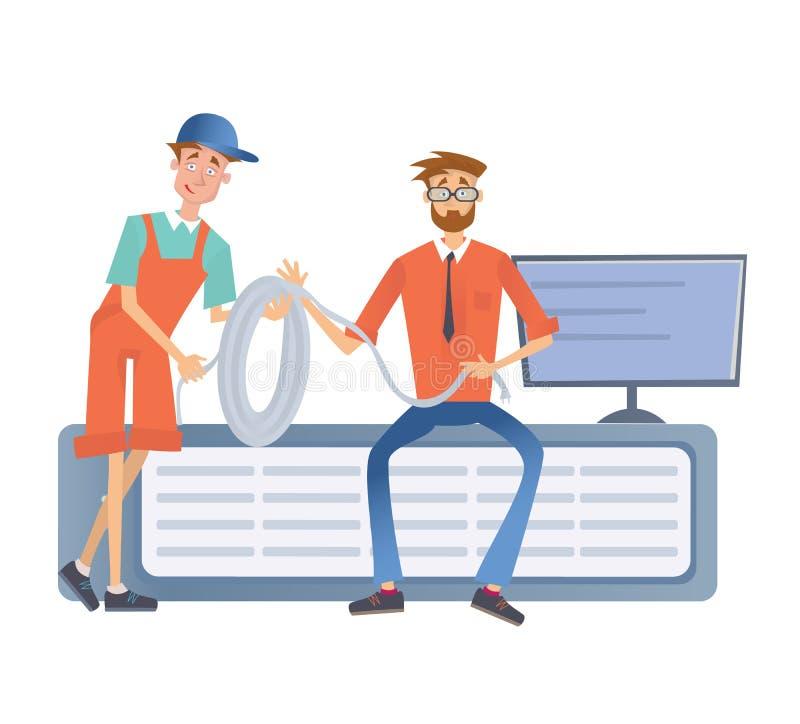 Dwa mężczyzna pracuje z komputerowym serwerem lub odpłacającego się gospodarstwem rolnym Technicy w dane centrum Wektorowa ilustr ilustracja wektor