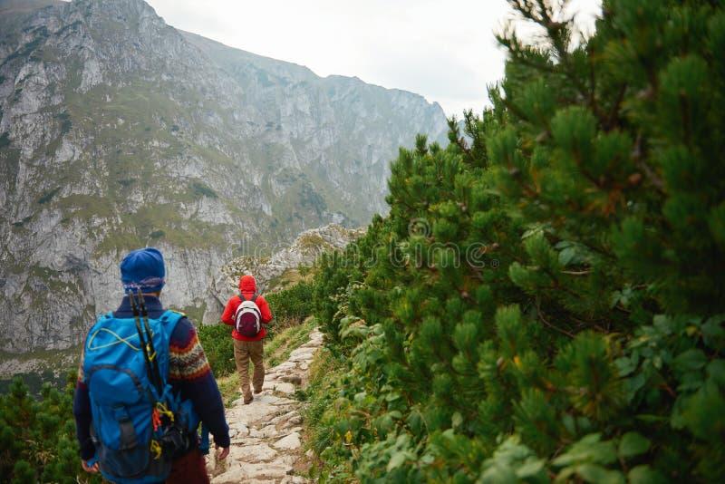 Dwa mężczyzna wycieczkuje wzdłuż skalistego śladu w górach fotografia royalty free