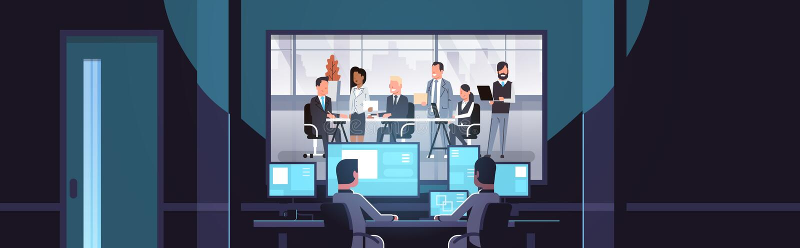 Dwa mężczyzny patrzeje monitorów za szklanymi mieszanki rasy ludzie biznesu zespalają się brainstorming spotkania konferencyjnego ilustracji