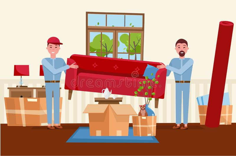Dwa mężczyzny pracownika niosą czerwoną kanapę Rusza? si? pude?ka W nowym domu Domowy żywy izbowy wnętrze Stos broguj?cy kartony royalty ilustracja