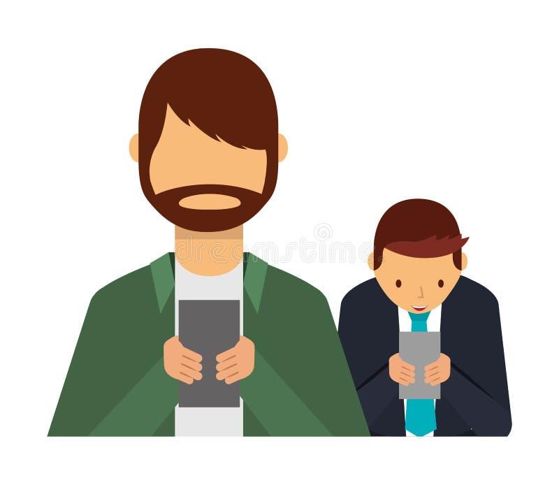 Dwa mężczyzny używa smartphone nałogu socjalny środki ilustracji