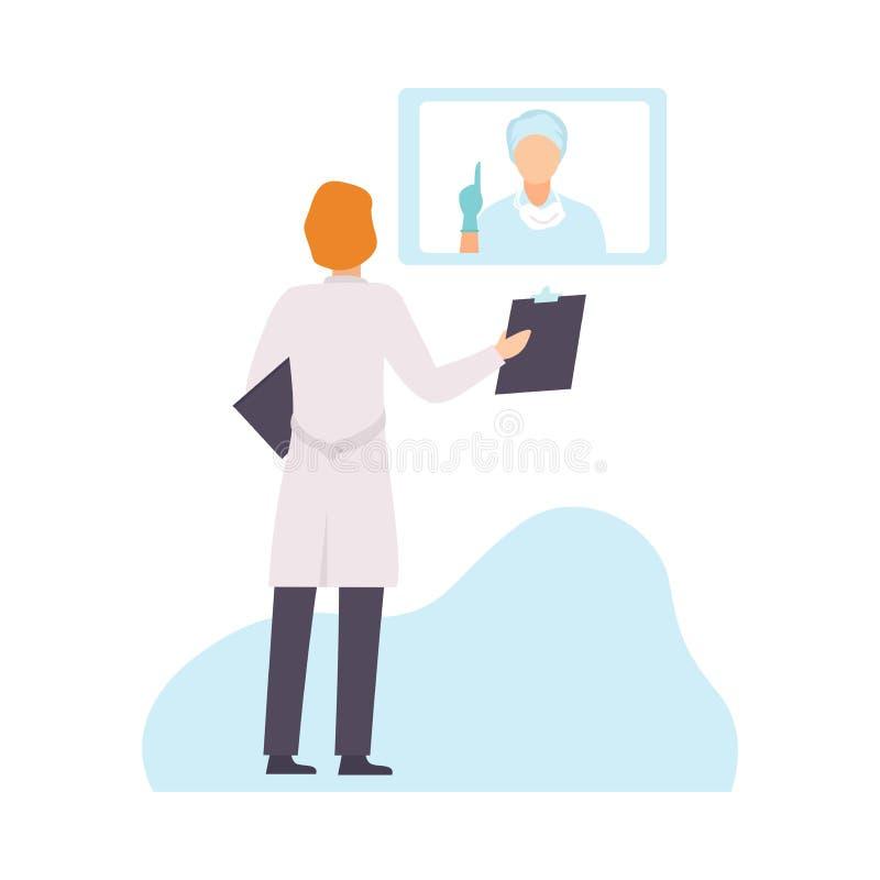 Dwa Męskiej lekarki Komunikuje opiekę zdrowotną Onliine i Dyskutuje w mundurze, opieka zdrowotna diagnostyk, leczenie ilustracja wektor